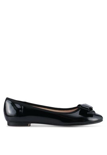 Velvet black Faux Patent Leather Bow Flats 5359DSHE0C5470GS_1