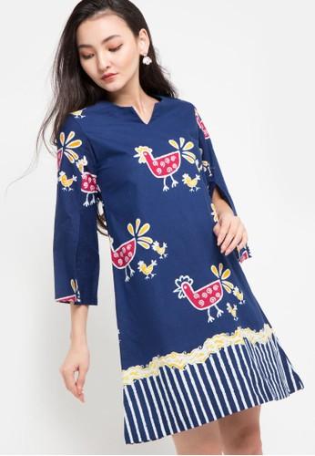 Le Viel Batik blue and multi Freya Minidress 16CF8AA337C85FGS_1