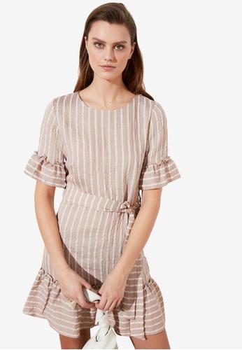 Trendyol beige Belted Ruffle Trim Stripe Dress B798FAA6E2BE5CGS_1