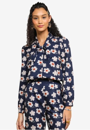 Lubna blue Printed Bow Detail Blouse DD663AAA2F694FGS_1
