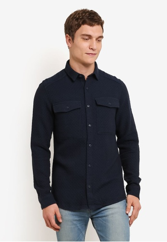 Only & Sons navy Terrence Quilted Shirt ON662AA0S5OLMY_1