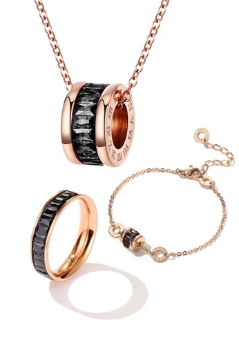 CELOVIS black and gold CELOVIS - Oceane Black Cryolite Necklace + Bracelet + Ring Jewellery Set 55A38AC5D80EFFGS_1