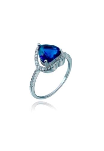 ADORA Silver Sapphire Pear Cut Ring AD365AC08YHRHK_1