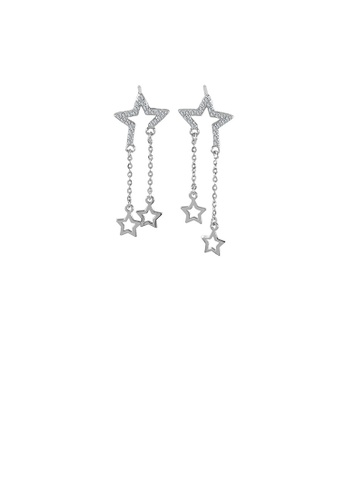 Glamorousky white 925 Sterling Silver Fashion Temperament Star Tassel Earrings with Cubic Zirconia E7A4DACAA2D996GS_1