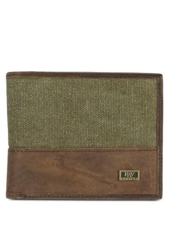 帆布皮革esprit台灣對折短夾, 飾品配件, 皮革