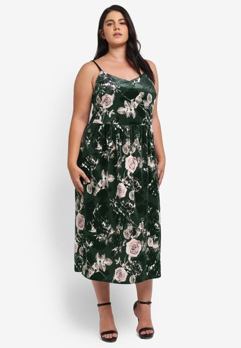 ELVI green Plus Size Green&Pink Velvet Midi Dress EL779AA0T1P2MY_1