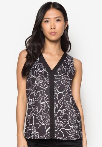 zalora taiwan 時尚購物網撞色門襟印花無袖上衣, 服飾, 上衣