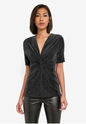 Dorothy Perkins silver Sparkle Twist Front Top DO816AA0SB5UMY_1