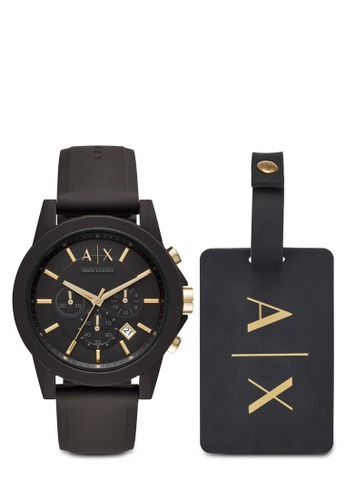 91d188f79ee Armani Exchange black Armani Exchange Outerbanks Black Watch AX7105  AR162AC0SM6SMY 1