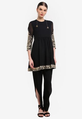 Rizalman for Zalora black Fatehpur Shalwar Khameez Suit RI909AA0SEZLMY_1