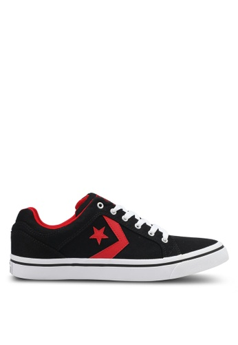 Converse black and white and red EL Distrito Ox Sneakers CO302SH0SW76MY_1