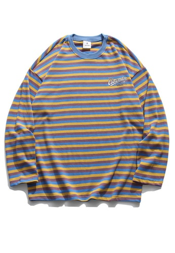 Twenty Eight Shoes Loose Contrast Stripe Printed Long T-shirt HH0938 08BA3AABC61415GS_1