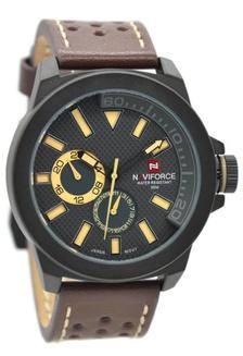 ... Naviforce NF9064MB Jam Tangan Pria Leather Strap Coklat Tua Plat Hitam  Jarum Cream 7738467c11