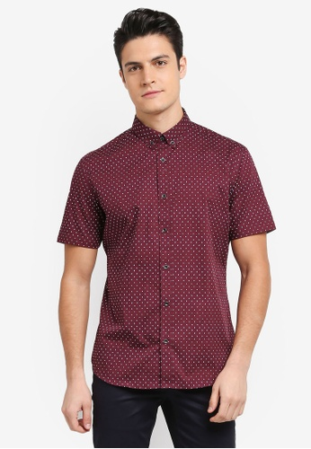 G2000 red 2 Tone Dot Print Short Sleeve Shirt 5A3C2AABA9B740GS_1