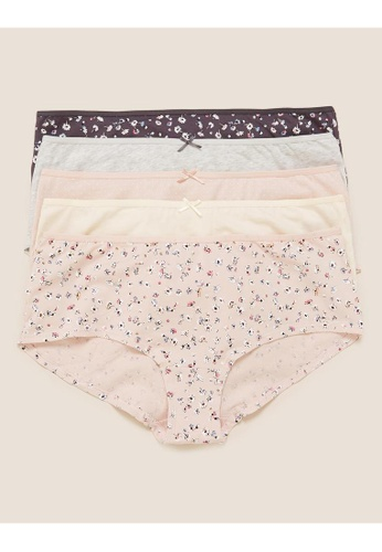 MARKS & SPENCER pink M&S 5pk Cotton Lycra® Daisy Print Low Rise Shorts 37358USC03E08FGS_1
