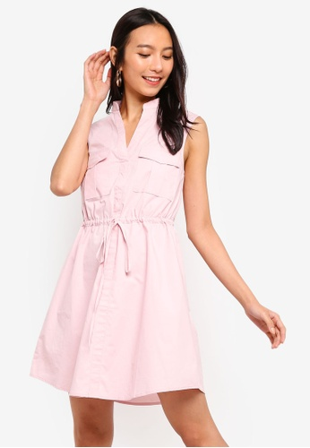 ZALORA pink Pocket Front Sleeveless Shirt Dress D1A66AAB4509A5GS_1