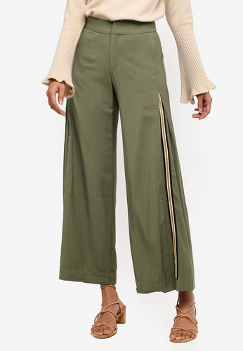 Hopeshow green Loose Fit Side Stripe Capri Pants DC3AFAAE90306CGS_1