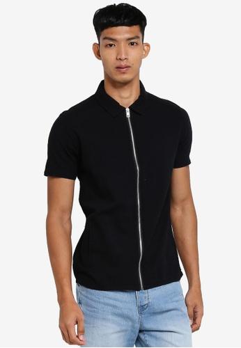 !Solid 黑色 短袖拉鍊襯衫 D266DAA0718DBFGS_1