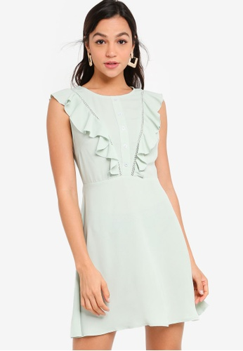 ZALORA YOUNG green Ruffle Front Fit and Flare Dress 8C24DAA9DC96D2GS_1