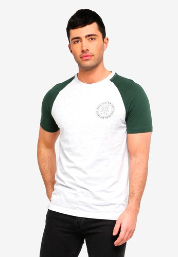 Brave Soul white and green and multi Everest Contrast Raglan Sleeve T-Shirt 39CA8AACC4F9DDGS_1