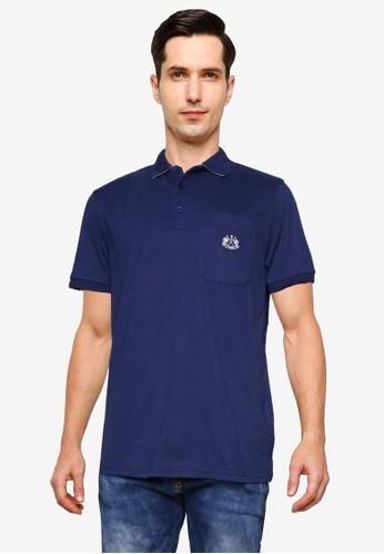 Fidelio navy Mixed Colored Collar Pocket Polo Shirt 97778AAF7B5B6AGS_1