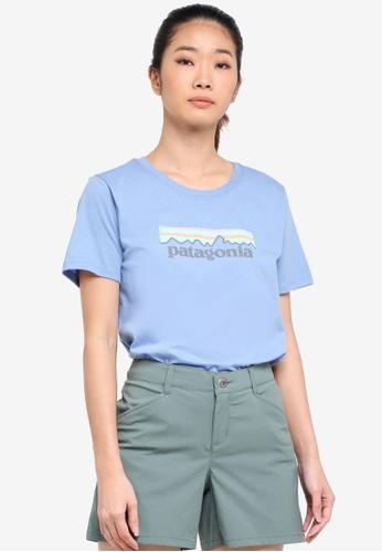 Patagonia blue Pastel P-6 Logo Cotton Crew T-Shirt PA549AA0SVMDMY_1