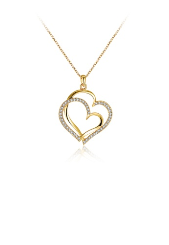 Glamorousky white Simple Plated Gold Double Heart Skeleton Pendant with Austrian Element Crystal and Necklace 326B5AC1F5D31DGS_1