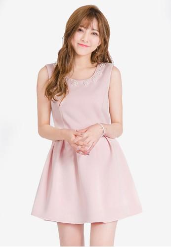 Yoco pink Embellished Neck Skater Dress 90826AAADB90D8GS_1