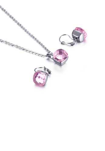 Glamorousky pink Fashion Simple Geometric Square 316L Stainless Steel Necklace and Earring Set with Pink Cubic Zirconia 97D26AC9E9E16EGS_1