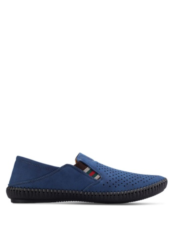 Louis Cuppers blue Perforated Slip Ons LO977SH81AVEMY_1