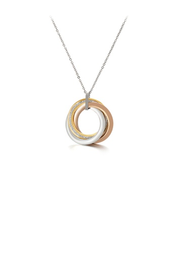 Glamorousky white Simple Temperament Three-color Geometric Circle 316L Stainless Steel Pendant with Cubic Zirconia and Necklace 08F4DACCF0735DGS_1