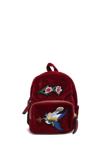 Dazz red Embroidery Velvet Backpack - Red DA408AC32GHJMY_1