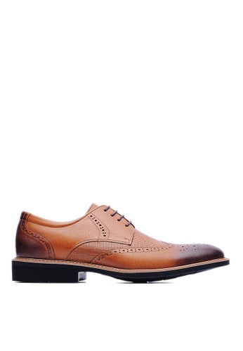 Life8 brown Lightweight Wax Cow Leather Embossing Derby Shoes-09215-Brown LI286SH40USDMY_1