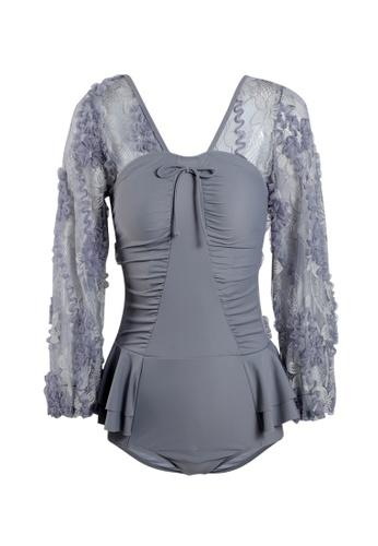 Its Me grey Elegant Lace One-Piece Swimsuit BAD24USDBF2050GS_1