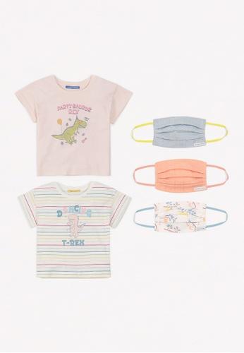 Gingersnaps multi Girls Dino Party Mask And Tshirt Set 037ABKA8246F2EGS_1