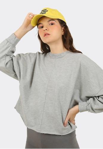 FLIES grey Sweater crop wanita A12641F GREY A1BDCAA61952A1GS_1