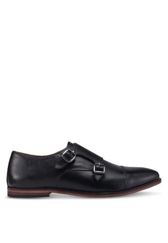 Topman black Black Leather Blinder Monk Shoes 13145SH3D795ACGS_1