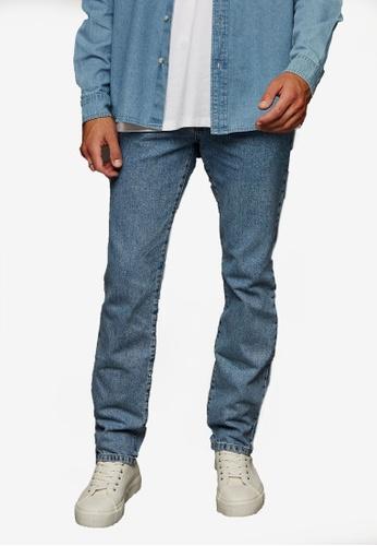 Topman blue Mid Wash Straight Jeans 7F09EAA1FC51C9GS_1