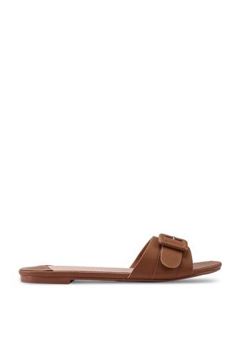 nose 褐色 素色扣環拖鞋 422A0SH764C396GS_1