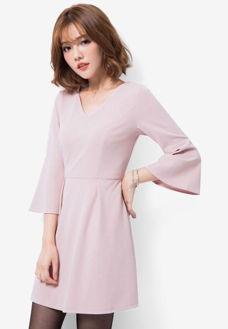 Flare Sleeve Dress