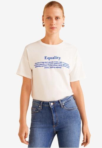 Mango white Text Cotton T-Shirt 21CDDAA83CC95FGS_1