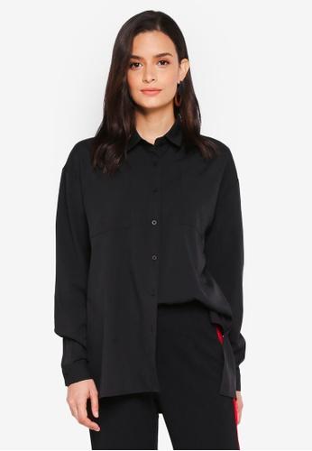 Lubna black Draped Shirt 07831AA620E5A0GS_1