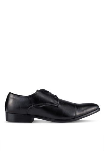 UniqTee black Lace Up Derby Shoes With Cap Toe UN097SH0S21QMY_1