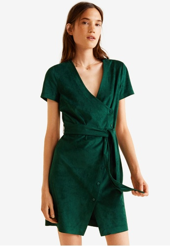 Mango green Bow Wrap Dress ABBB1AA04B3960GS_1