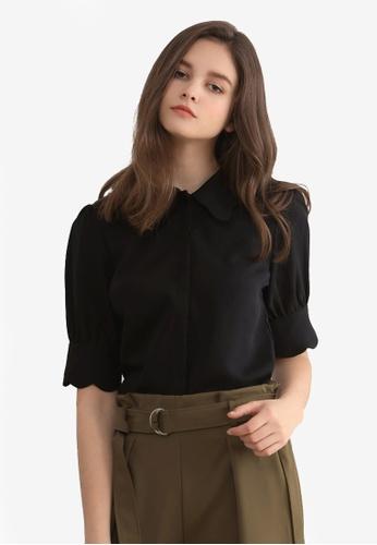 Kodz black Scallop Sleeve Blouse 38B33AA7694B5AGS_1