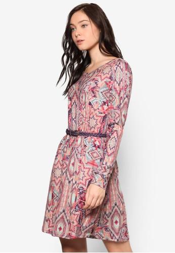 Allada 印花腰帶連身裙, 服esprit台灣門市飾, 洋裝
