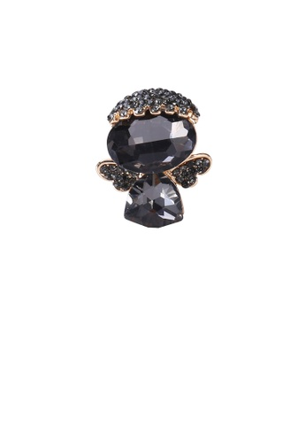 Glamorousky black Simple and Cute Plated Gold Angel Brooch with Black Cubic Zirconia D6B37AC1966BACGS_1