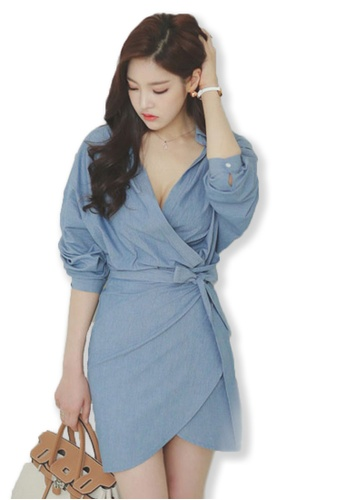 Sunnydaysweety blue 2017 F/W Blue Mid Sleeves Wrapped Mini Dress A083117 SU219AA0FPFGSG_1