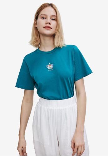 Urban Revivo green Round Neck Short Sleeves T-Shirt 457EBAABFD84CBGS_1
