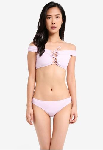 South Beach purple Lilac Bardot Ribbed Lattice Bikini SO840US0SS5RMY_1